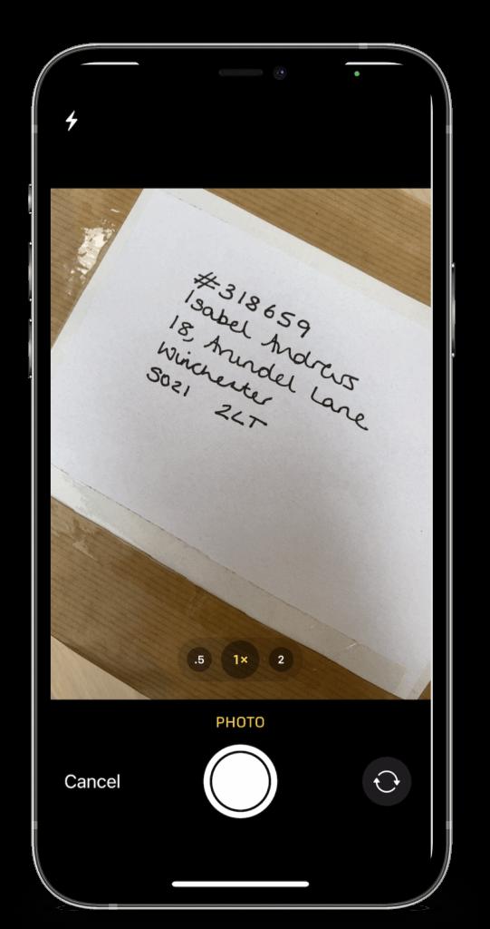 Smartphone with photo of digicode